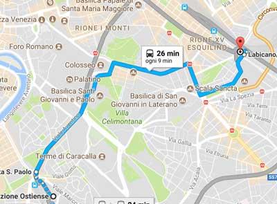 percorso del ristotram Roma